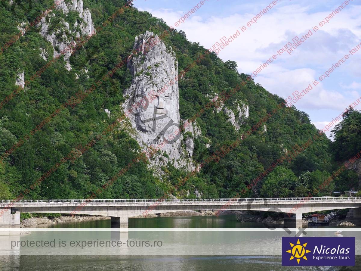 Statue of Decebal carved in stone Danube trip in Romania